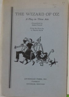 Wizard of Oz Play Anchorage Book 1957