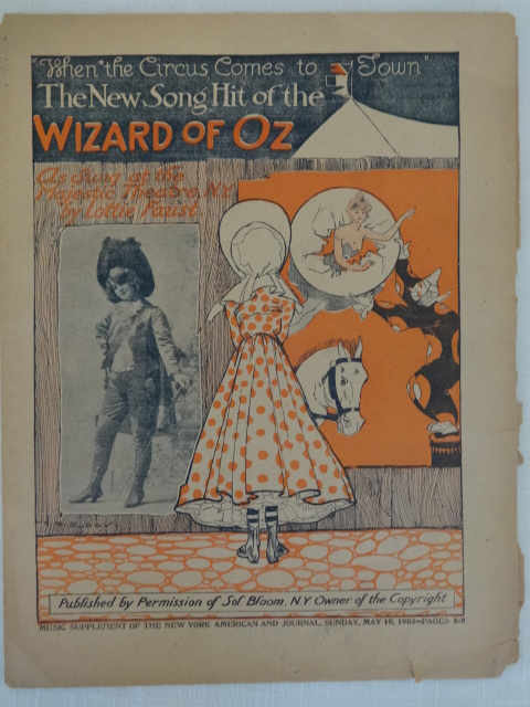 Sale: WHEN THE CIRCUS COMES TO TOWN Wizard of Oz Sheet Music 1903  Orange/Black