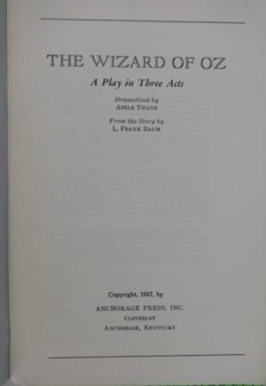 Wizard of Oz Play Book Anchorage Press