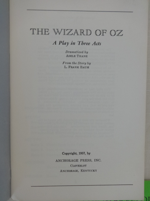 Sale  Wizard Of Oz Play Book Anchorage Press  Act Script Baum  Wizard Of Oz Play Book Anchorage Press