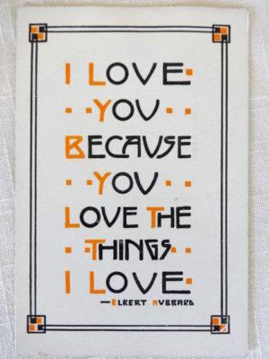 dard hunter roycroft motto postcard love