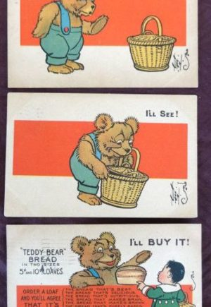 Denslow Teddy Bear Bread Postcard