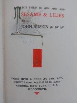 Sesame and Lilies Roycroft Illumined book minnie gardner