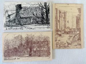 Roycroft Inn Line Art Postcards Vintage