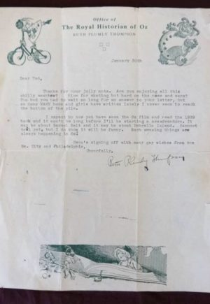 Ruth plumly thompson 1940 Signed Wizard of Oz Letter