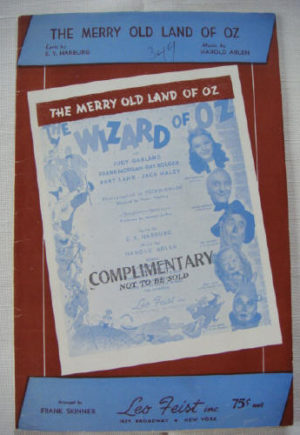Merry old land of oz sheet music 1939
