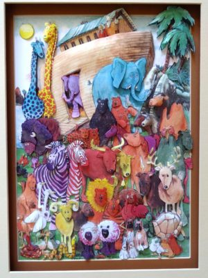 Noahs ark wall hanging paper art