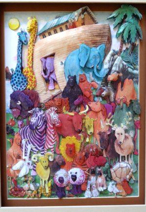 Noahs ark wall hanging paper art