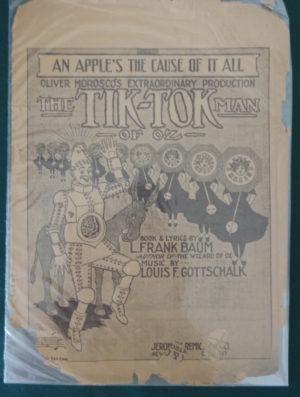 An apple's the cause of it all, tik tok man of oz, sheet music, l frank baum, 1913, musical