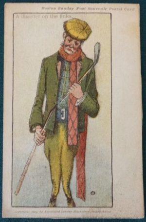 john r Neill Disaster on the Links 1904 golf Postcard