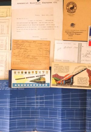 Railroad Ephemera Lot from 1870-1956 Trains, Blotter, Stock, Tickets