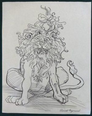 vincent Myrand cowardly Lion of oz original art
